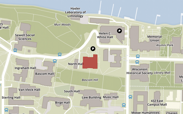 map of bascom hill with the education building highlighted